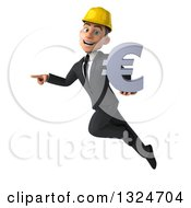 Clipart Of A 3d Young White Male Architect Flying Pointing And Holding A Euro Symbol Royalty Free Illustration