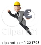 Clipart Of A 3d Young White Male Architect Flying And Holding A Euro Symbol 2 Royalty Free Illustration