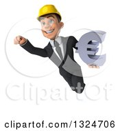 Clipart Of A 3d Young White Male Architect Flying And Holding A Euro Symbol 3 Royalty Free Illustration