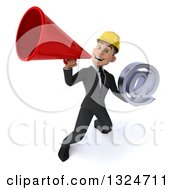 Clipart Of A 3d Young White Male Architect Holding An Email Arobase At Symbol And Announcing Upwards With A Megaphone Royalty Free Illustration