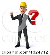 Clipart Of A 3d Young White Male Architect Holding Up A Finger And A Question Mark Royalty Free Illustration
