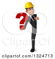 Clipart Of A 3d Full Length Young White Male Architect Holding A Question Mark And Looking Around A Sign Royalty Free Illustration