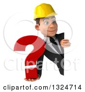Clipart Of A 3d Young White Male Architect Holding A Question Mark And Looking Around A Sign Royalty Free Illustration