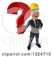Clipart Of A 3d Young White Male Architect Holding Up A Question Mark Royalty Free Illustration