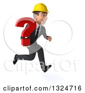 Clipart Of A 3d Young White Male Architect Sprinting To The Right And Holding A Question Mark Royalty Free Illustration