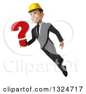 Clipart Of A 3d Young White Male Architect Flying And Holding A Question Mark 2 Royalty Free Illustration