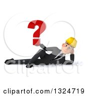 Clipart Of A 3d Young White Male Architect Resting On His Side And Holding A Question Mark Royalty Free Illustration