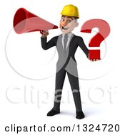 Clipart Of A 3d Young White Male Architect Holding A Question Mark And Announcing With A Megaphone Royalty Free Illustration