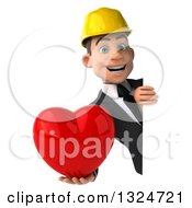 Clipart Of A 3d Young White Male Architect Holding A Love Heart Around A Sign Royalty Free Illustration