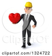 Clipart Of A 3d Young White Male Architect Walking And Holding A Love Heart Royalty Free Illustration