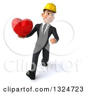 Clipart Of A 3d Young White Male Architect Speed Walking And Holding A Love Heart Royalty Free Illustration