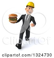 Clipart Of A 3d Young White Male Architect Speed Walking And Holding A Double Cheeseburger Royalty Free Illustration