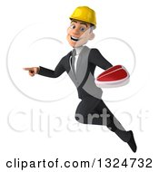 Clipart Of A 3d Young White Male Architect Flying Pointing And Holding A Beef Steak Royalty Free Illustration