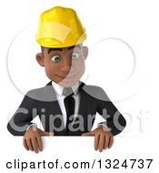 Clipart Of A 3d Young Black Male Architect Looking Down Over A Sign Royalty Free Illustration by Julos