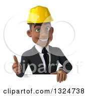 Clipart Of A 3d Young Black Male Architect Giving A Thumb Up Over A Sign Royalty Free Illustration by Julos