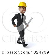 Clipart Of A 3d Young Black Male Architect Holding Plans And Walking To The Right Royalty Free Illustration by Julos
