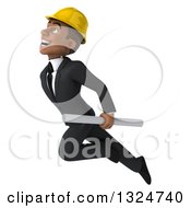 Clipart Of A 3d Young Black Male Architect Holding Plans And Flying Up To The Left Royalty Free Illustration by Julos