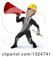 Clipart Of A 3d Young Black Male Architect Holding Plans And Announcing To The Left With A Megaphone Royalty Free Illustration by Julos