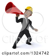 Clipart Of A 3d Young Black Male Architect Announcing Upwards With A Megaphone Royalty Free Illustration by Julos