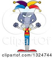 Clipart Of A Cartoon Mad Housefly Jester Royalty Free Vector Illustration