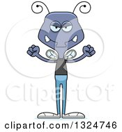 Clipart Of A Cartoon Mad Casual Housefly Royalty Free Vector Illustration