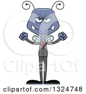 Clipart Of A Cartoon Mad Business Housefly Royalty Free Vector Illustration