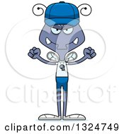Clipart Of A Cartoon Mad Housefly Sports Coach Royalty Free Vector Illustration
