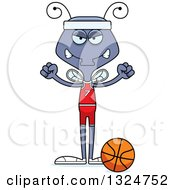 Clipart Of A Cartoon Mad Housefly Basketball Player Royalty Free Vector Illustration