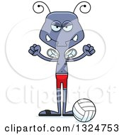 Clipart Of A Cartoon Mad Housefly Beach Volleyball Player Royalty Free Vector Illustration