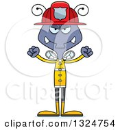 Clipart Of A Cartoon Mad Housefly Firefighter Royalty Free Vector Illustration