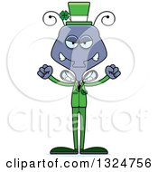 Clipart Of A Cartoon Mad Irish St Patricks Day Housefly Royalty Free Vector Illustration