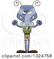 Clipart Of A Cartoon Mad Housefly Hiker Royalty Free Vector Illustration