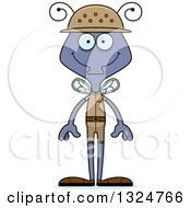 Clipart Of A Cartoon Happy Housefly Zookeeper Royalty Free Vector Illustration