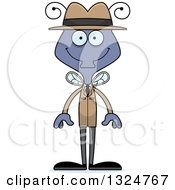 Clipart Of A Cartoon Happy Housefly Detective Royalty Free Vector Illustration