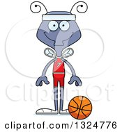 Clipart Of A Cartoon Happy Housefly Basketball Player Royalty Free Vector Illustration