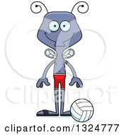 Clipart Of A Cartoon Happy Housefly Beach Volleyball Player Royalty Free Vector Illustration
