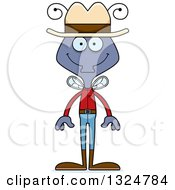 Clipart Of A Cartoon Happy Housefly Cowboy Royalty Free Vector Illustration