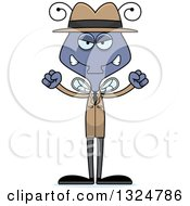Clipart Of A Cartoon Mad Housefly Detective Royalty Free Vector Illustration