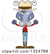 Clipart Of A Cartoon Mad Housefly Cowboy Royalty Free Vector Illustration