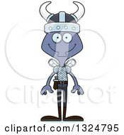 Clipart Of A Cartoon Happy Housefly Viking Royalty Free Vector Illustration