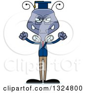Clipart Of A Cartoon Mad Housefly Professor Royalty Free Vector Illustration