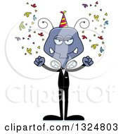 Clipart Of A Cartoon Mad New Year Party Housefly Royalty Free Vector Illustration