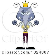Clipart Of A Cartoon Mad Housefly Prince Royalty Free Vector Illustration