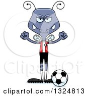 Clipart Of A Cartoon Mad Housefly Soccer Player Royalty Free Vector Illustration
