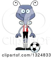 Clipart Of A Cartoon Happy Housefly Soccer Player Royalty Free Vector Illustration by Cory Thoman
