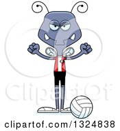 Clipart Of A Cartoon Mad Housefly Volleyball Player Royalty Free Vector Illustration by Cory Thoman