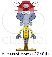 Clipart Of A Cartoon Happy Housefly Firefighter Royalty Free Vector Illustration by Cory Thoman