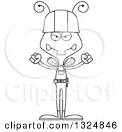 Cartoon Black And White Mad Housefly Contractor
