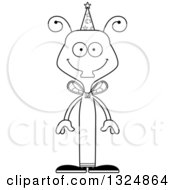 Lineart Clipart Of A Cartoon Black And White Happy Housefly Wizard Royalty Free Outline Vector Illustration