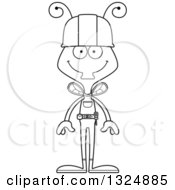 Cartoon Black And White Happy Housefly Contractor